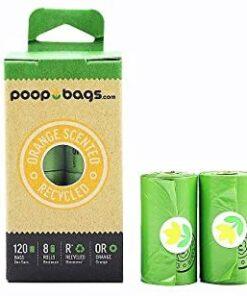 Bolsas Biodegradables Con Esencia De Naranja Para Desechos De Perro. Incluye 8 Rollos, 120 Bolsas