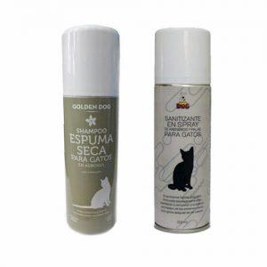 Shampoo Gato Espuma Seca Golden Dog Y Limpiador Gato Areneros