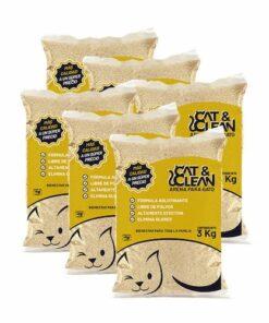 Arena Aglutinante Natural Para Gato Cat & Clean 18 Kg 6 Piezas